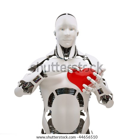 Robot with red heart in the hands - stock photo