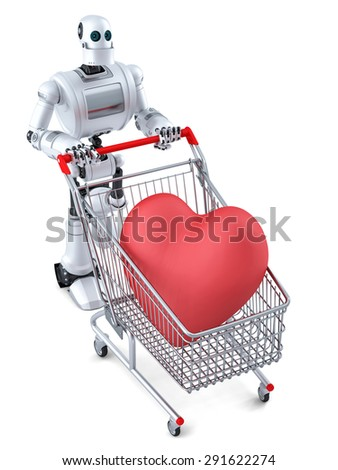 Robot with shopping cart and huge red heart in it. Isolated over white. Contains clipping path - stock photo