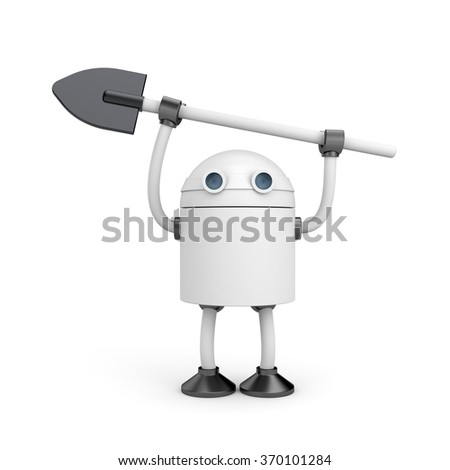 Robot with shovel