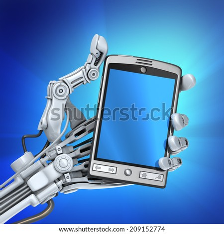 Robot with smart phone - stock photo