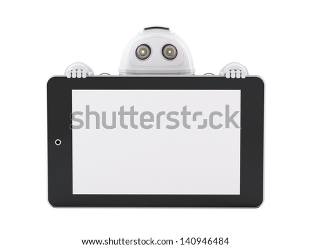 Robot with tablet pc. Advertising concept - stock photo