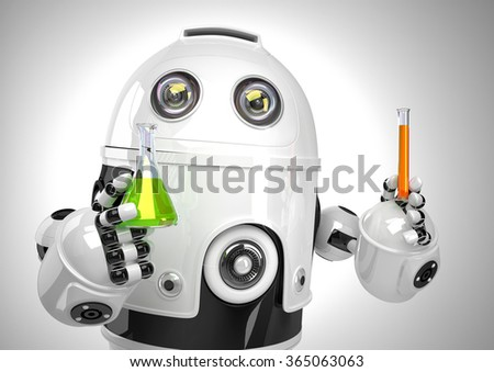 Robot with test tube and flask. Chemical analysis concept. Contains clipping path.