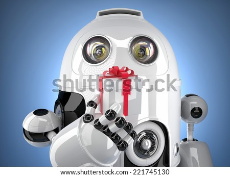 Robot with tiny gift box. Isolated on white. Contains clipping path - stock photo