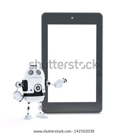 Robot with touch screen tablet pc with blanc screen - stock photo