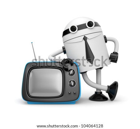 Robot with TV - stock photo