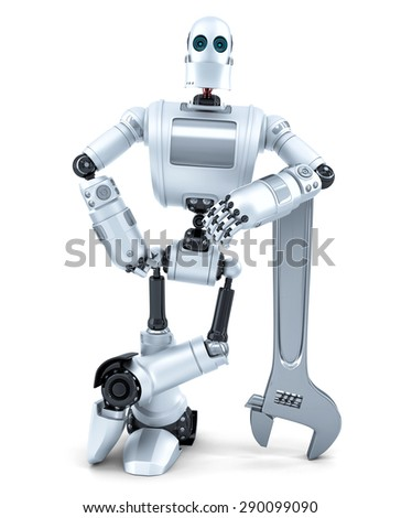 Robot with wrench. Technology concept. Isolated over white. Contains clipping path - stock photo