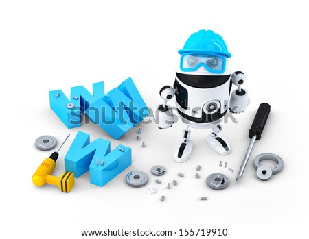 Robot with WWW sign. Website building or repair concept. Isolated on white background - stock photo