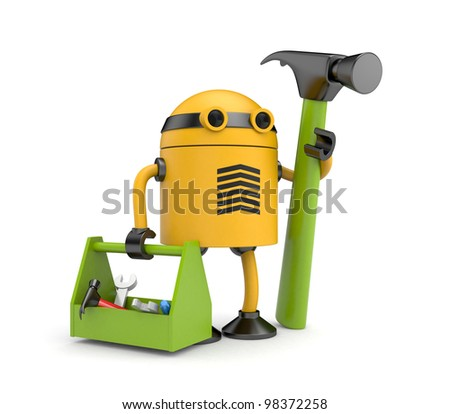 Robot worker - stock photo