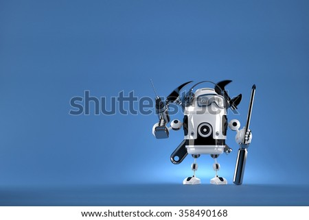 Robot worker. 3D illustration. Contains clipping path - stock photo