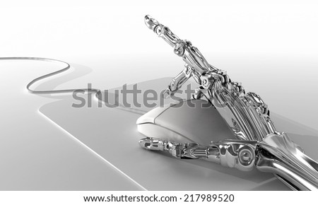 Robot works in office and uses computer mouse.  Conceptual 3d illustration - stock photo