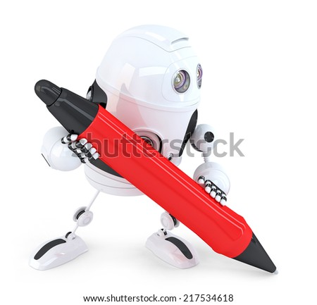 Robot writing with red pen. Isolated. Contains clipping path - stock photo