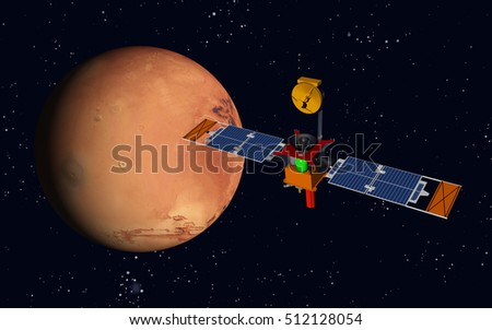 Robotic aircraft and planet Mars Computer generated 3D illustration