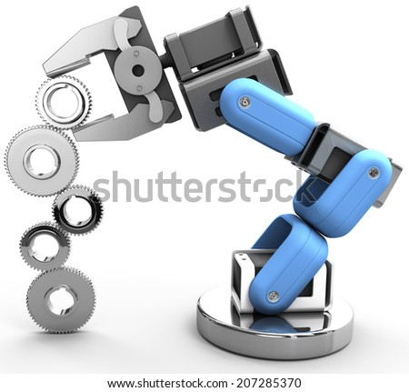 Robotic arm building growth in technology business as gear stack - stock photo