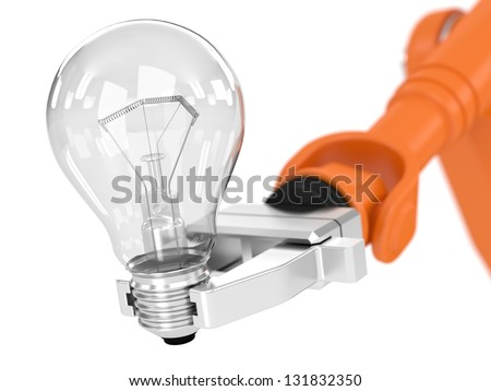 Robotic arm holding light bulb. Image concept and part of a series. - stock photo