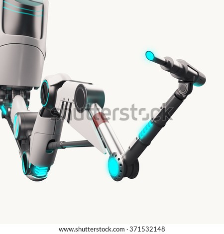 Robotic arm isolated on a white background - stock photo