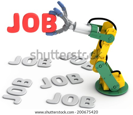 Robotic arm to find and choose best Technology job search solution - stock photo