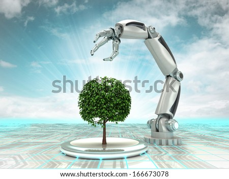 robotic hand creation of new kind of tree with cloudy sky illustration - stock photo