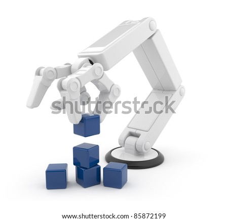 Robotic hand gather cube 3d. Artificial intelligence. Isolated on white background - stock photo