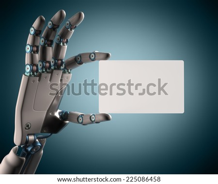 Robotic hand holding a blank card. Your text on the card. Clipping path included. - stock photo