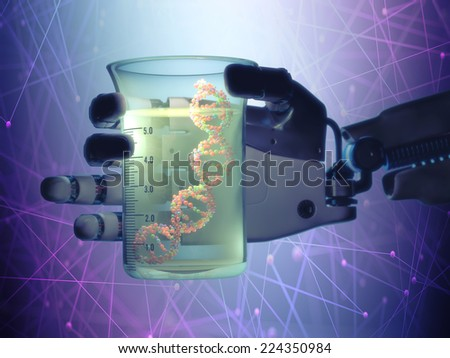 Robotic hand holding a test tube with a dna inside. Technology concept manipulating organic life. - stock photo