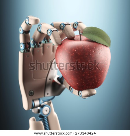 Robotic hand holding an apple.