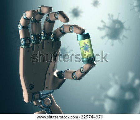 Robotic hand manipulating virus. Concept of technology in combating infectious diseases. Clipping path included. - stock photo