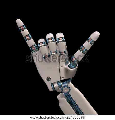 Robotic hand shaped and measures that mimic the human skeleton. Clipping path included. - stock photo