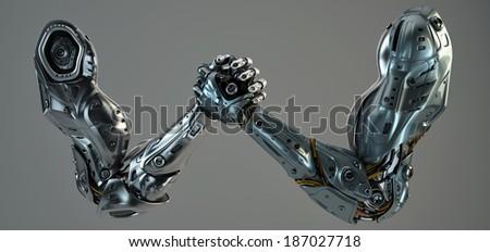 Robotic hands Arm wrestling - stock photo