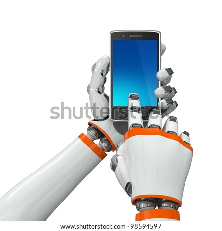 Robotic hands holding a mobile phone with blank screen