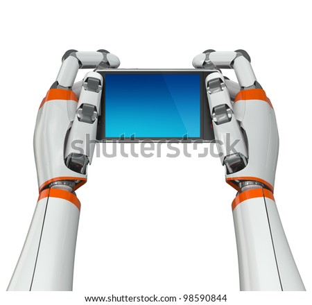 Robotic hands holding a mobile phone with blank screen. Contains vector paths for screen and hands.