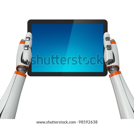 Robotic hands holding a tablet PC with blank screen. Contains clipping paths for screen and hands.