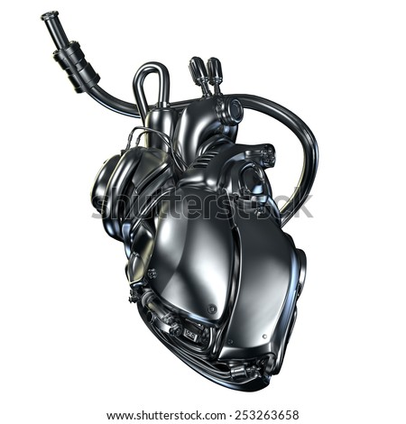 robotic heart - stock photo