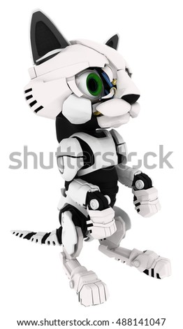Robotic kitten sitting pose 3d illustration, vertical, isolated