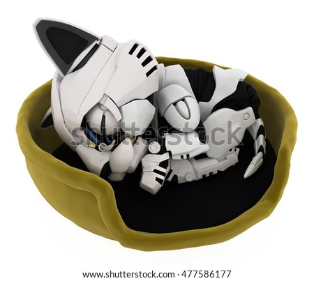 Robotic kitten sleeping in basket 3d illustration, horizontal, isolated
