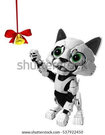 Robotic kitten with bell ribbon, 3d illustration, vertical, isolated