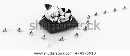 Robotic kitten with mice 3d illustration, horizontal, isolated