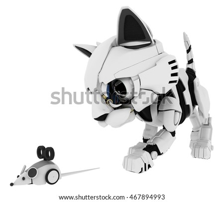 Robotic kitten with mouse 3d illustration, horizontal, isolated