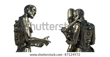 Robotic Love triangle. Futuristic Relations