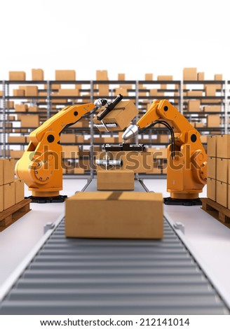 Robotic Palletising and Packaging - stock photo