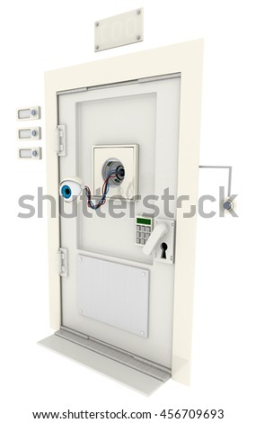 Robotic round eyeball white door hidden 3d illustration, vertical, isolated