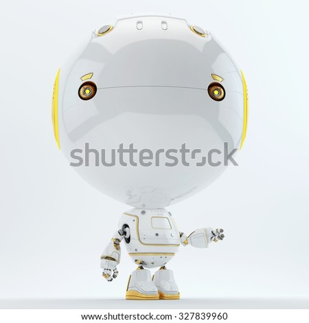 Robotic toddler with yellow bright elements, parts pointing on something / Robotic toddler pointing - stock photo