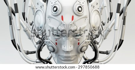 Robotic wired man's head mask - stock photo