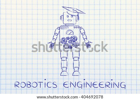 robotics engineering: funny robot with graduation hat, concept of artificial intelligence - stock photo