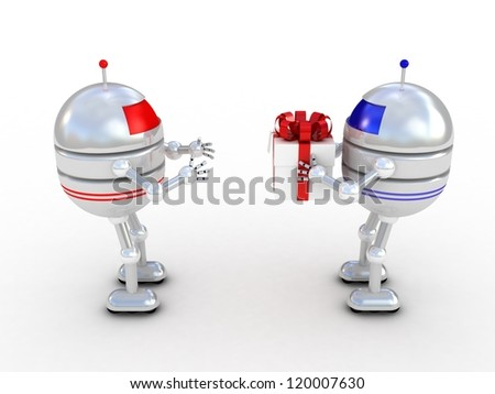Robots with gifts, 3D images - stock photo