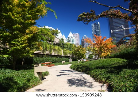 Robson Square in downtown Vancouver - stock photo