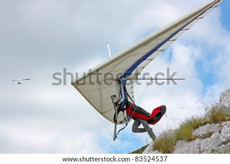 ROC, CROATIA - JUNE 29: Competitor takes part in the the Croatian Open Hang Gliding Competitions on June 29, 2011 in Roc, Croatia