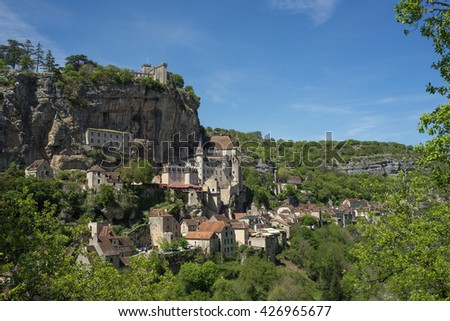 Rocamadour, a beautiful french village on a cliff in Midi-Pyrenees. Rocamadour has attracted visitors for its setting in a gorge above a tributary of the River Dordogne.