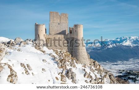 Rocca Calascio fortress, Abruzzo, Italy - stock photo