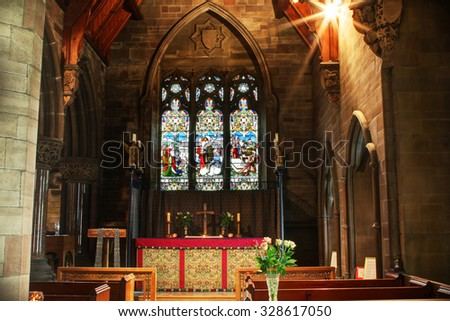 ROCHDALE, UK - OCTOBER 17, 2015:Side chapel. Church of St. Edmund, Falinge,  is a redundant church building and was commissioned by Rochdale's local industrialist and Freemason Albert Royds, - stock photo
