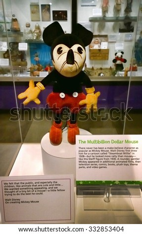 Rochester, New York, USA. October 24, 2015. Early version of Mickey Mouse on display at the Strong National Museum of Play. - stock photo